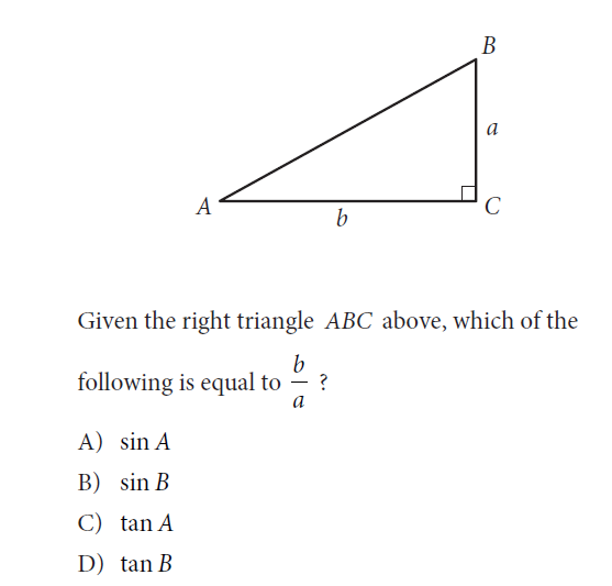 "evaluating the new psat math educationrealist  test is categorized as ""hard"" but the question is simplicity itself if the student knows any right triangle trigonometry which is taught in geometry"